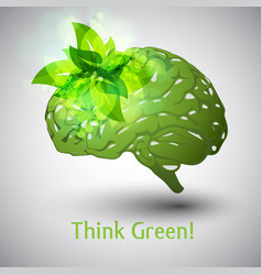 think green brain vector image