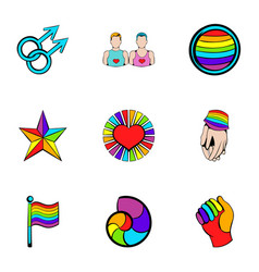 unisexual relation icons set cartoon style vector image vector image