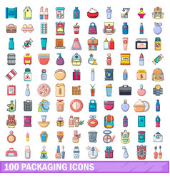 100 packaging icons set cartoon style vector