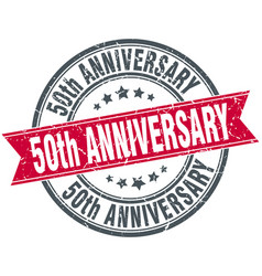 50th anniversary round grunge ribbon stamp vector image