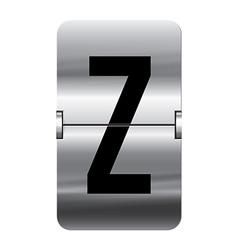 Alphabet silver flipboard letters z vector image