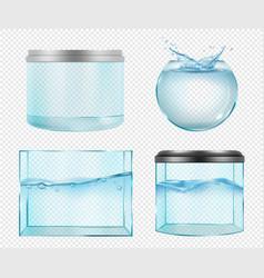 Aquarium realistic transparent glass empty vector