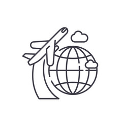 around the world line icon concept around the vector image
