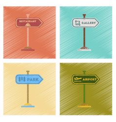 Assembly flat shading style icons park street vector