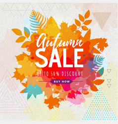 Autumn big sale watercolor poster with autumn vector