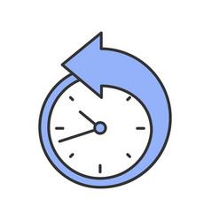 Back arrow around clock color icon vector
