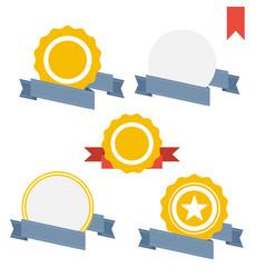 badge labels and ribbons emblems set vector image