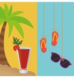 beach palm cocktail and flip flop sunglasses vector image