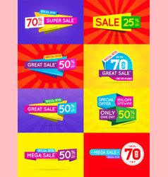 big set sale sign banner poster ready for web and vector image