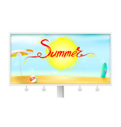 Billboard with summer background sun umbrella vector