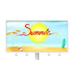 billboard with summer background sun umbrella vector image