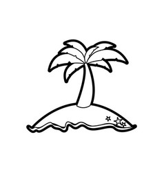 Black thick contour of island with palm tree vector