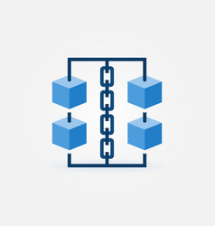 Block chain icon blue cubes with chain vector