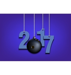 Bowling ball and 2017 hanging on strings vector