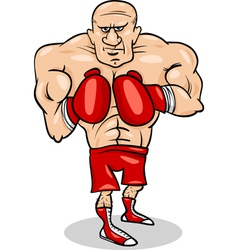 boxer sportsman cartoon vector image