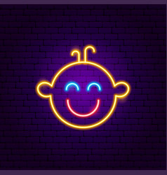 boy face neon sign vector image