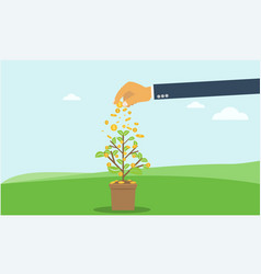 Businessman hand investing money coin tree with vector