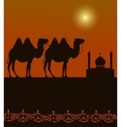 camels on the desert with middle east architecture vector image