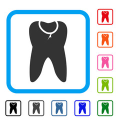 Caries tooth framed icon vector
