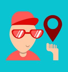 Cartoon character boy holding smartphone vector