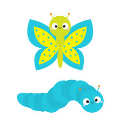 Caterpillar butterfly insect icon set baby vector