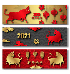 chinese new year 2021 ox set eastern cards vector image