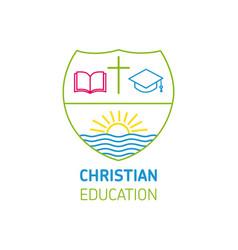 christianity education book cross logo vector image