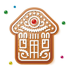 christmas gingerbread house icon vector image