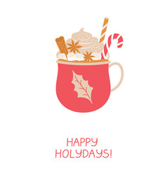 christmas greeting card with red cup hot drink vector image