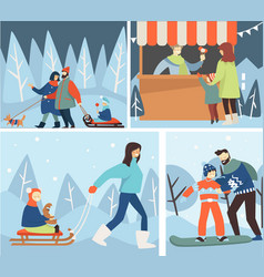 christmas holidays and wintertime winter family vector image