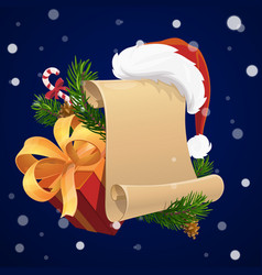 christmas scroll with xmas gift and santa hat vector image