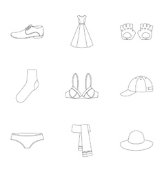 Clothes set icons in outline style Big collection vector