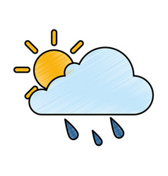 Cloud weather with sun and rain vector