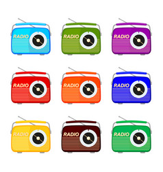 colorful cartoon retro radio collection vector image
