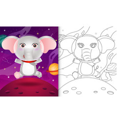 Coloring book for kids with a cute elephant vector