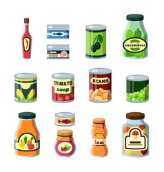 conservation food products in cans flat vector image