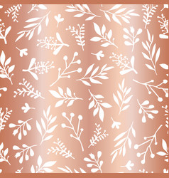copper foil leaves seamless background vector image