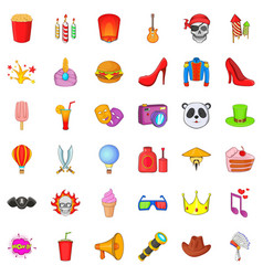 Costume ball icons set cartoon style vector