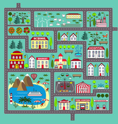 Cute square road play mat for kids entertainment vector