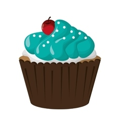 decorated cupcake with cherry icon vector image