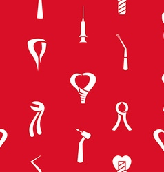Dental pattern on Red Background vector