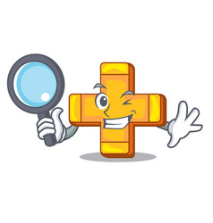 detective cartoon plus sign logo concept health vector image