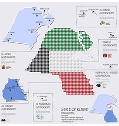 dot and flag map of state kuwait infographic vector image