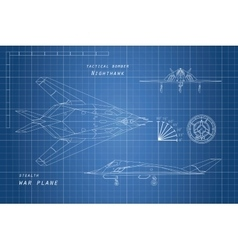 drawing military aircraft top side and front vector image