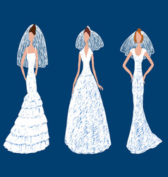 Drawing young brides in different wedding vector
