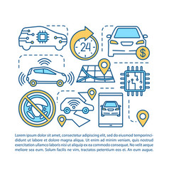 Driverless taxi article page template robotic car vector