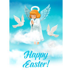 Easter angel with wings and halo religion holiday vector