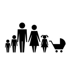 family silhouette and baby cart isolated icon vector image