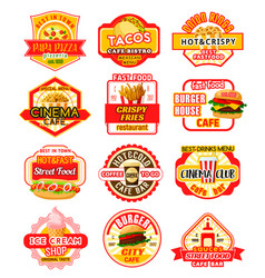 fast food icons for fastfood restaurant vector image
