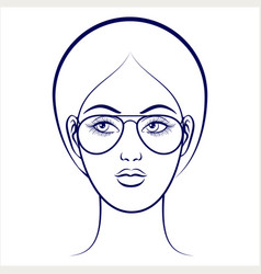 female face with glasses vector image